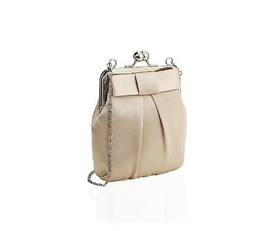 LADIES LOVELY VINTAGE STYLE CREAM SATIN BOW KISS LOCK FRAME PURSE BAG WITH CHAIN £17.59