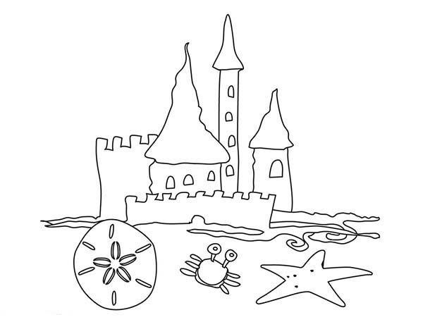 beach vacation simple drawing of beach castle coloring page