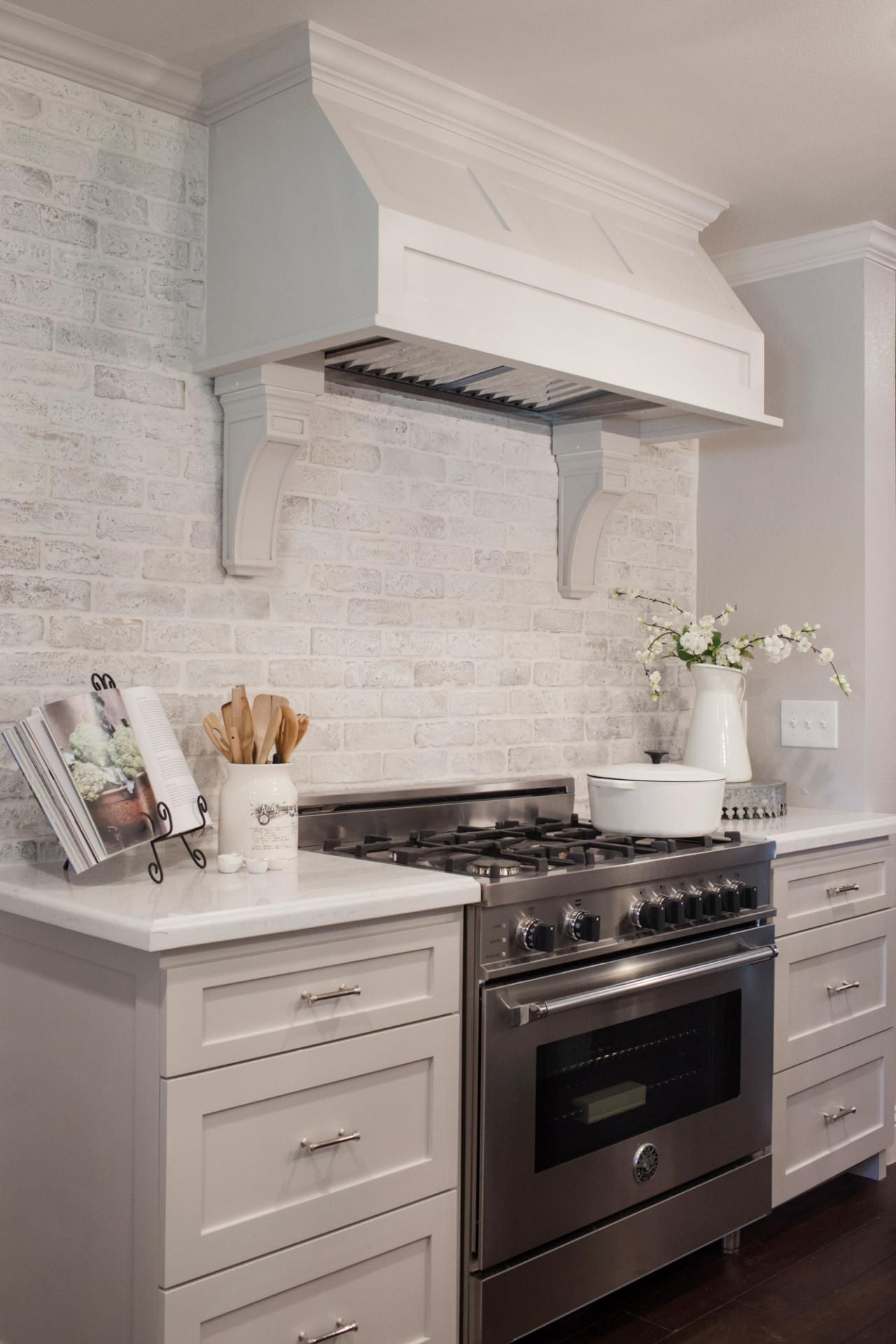 Fixer Upper with Brick Backsplash Kitchen