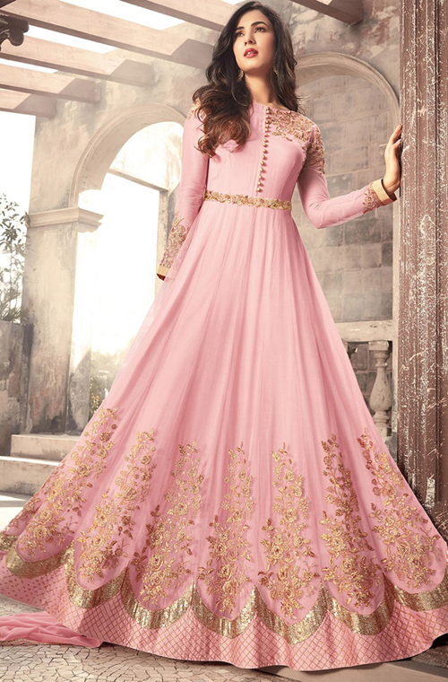 c11b921ae3 Pink Designer Embroidered Net Party Wear Anarkali Suit in 2019 ...