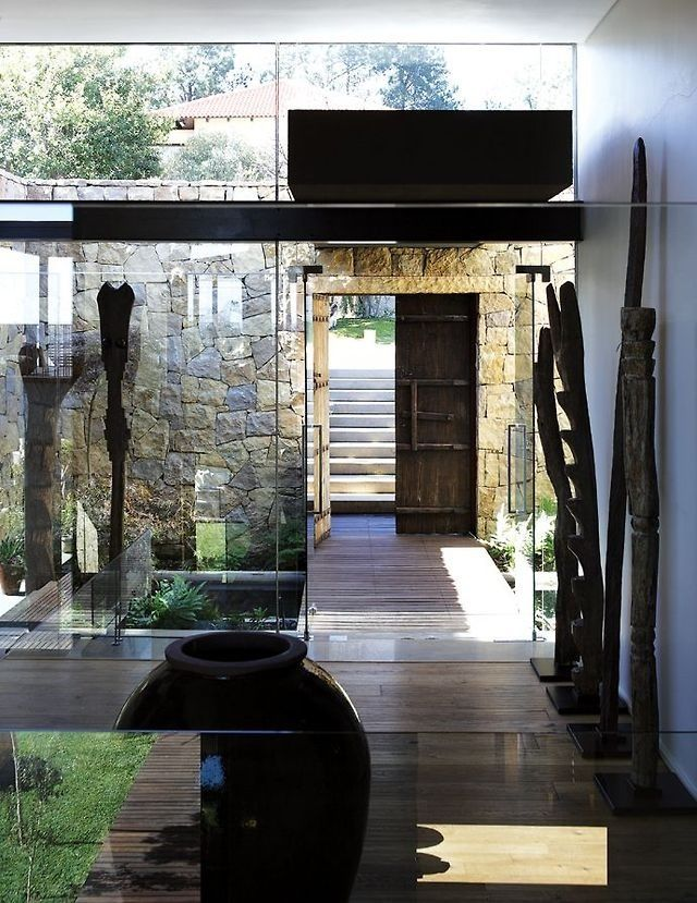 Glass Wood Stone Interior Architecture Design Architecture