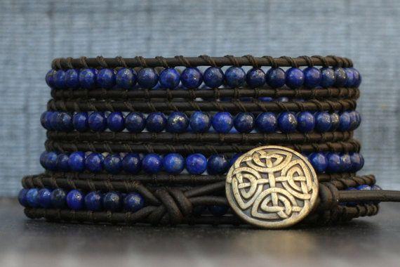 READY TO SHIP lapis lazuli wrap bracelet on black by CorvusDesign