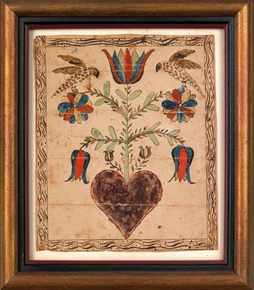 """Southeastern Pennsylvania watercolor fraktur, ca. 1800, with two birds perched atop a floral vine emanating from a heart, 7 1/4"""" x 6""""."""