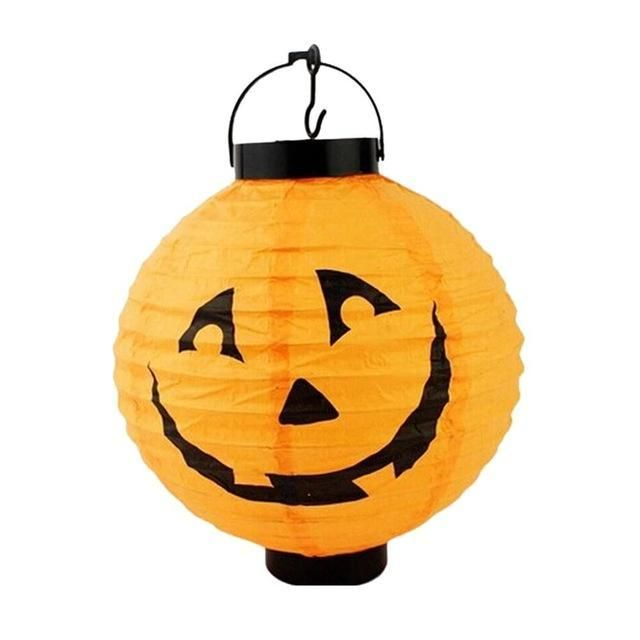 1pcs Halloween Decoration LED Paper Pumpkin Light Hanging Lantern - bulk halloween decorations
