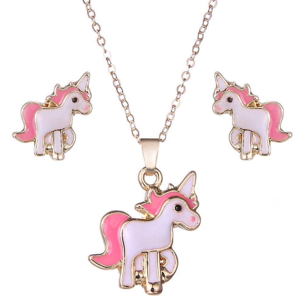 Pink horse unicorn jewelry set animal decorations earringsnecklaces