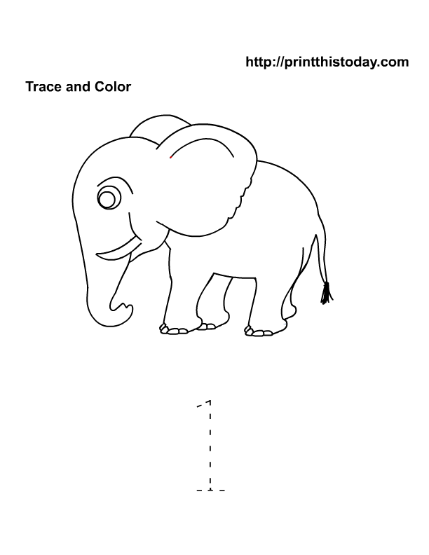 Trace and color number 1 | ELC PRESCHOOL AREA | Pinterest