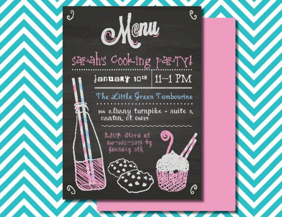 Cooking Party Invitation, Kids Baking Party, Children'S Cooking