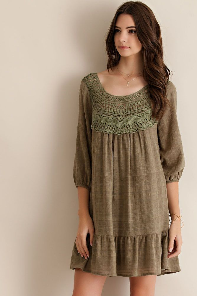 Crochet Patch Baby Doll Ruffle Dress - Olive - Knitted Belle Boutique  - 1