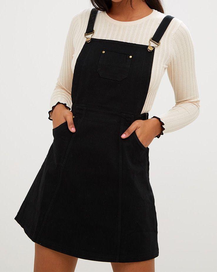 Denimdress Pretty Little Thing Martine Black Denim Pinafore Dress