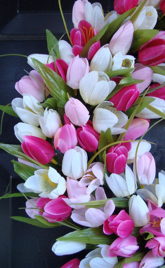 Spring Wreath Tulip Spring Wreath Summer Wreath By Elegantwreath Flowers Online Love Flowers Tulip Spring Wreath