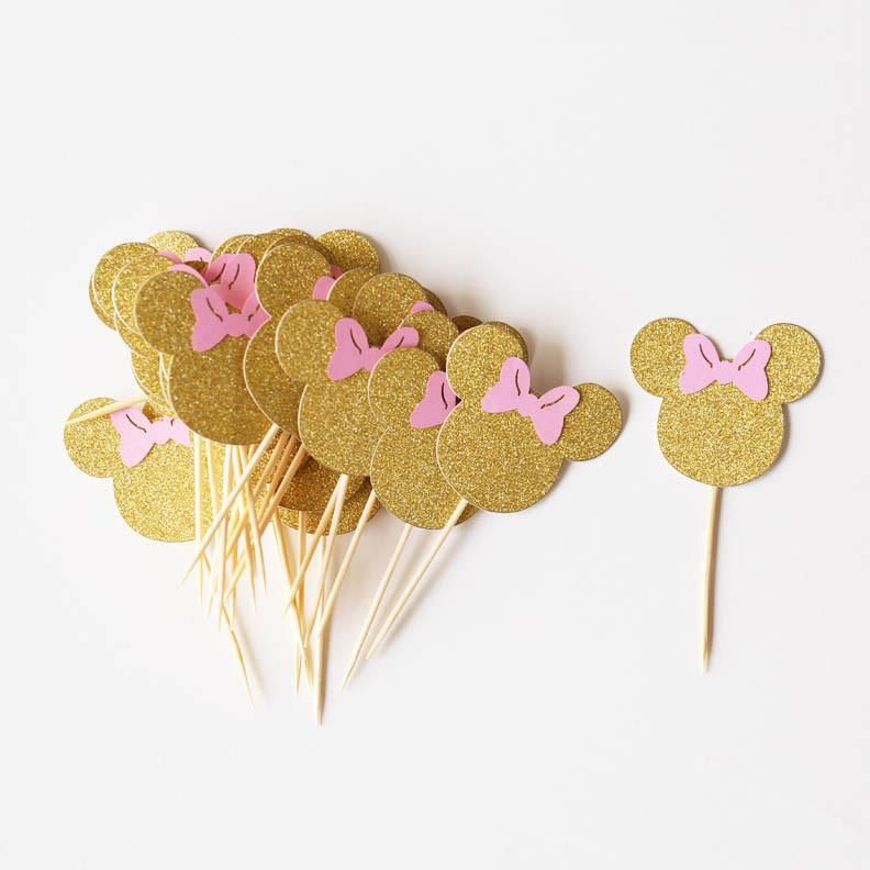 Gold Minnie Head and Pink Bow, Minnie Mouse Cupcake Toppers,Minnie Mouse Party Decor #minniemouse