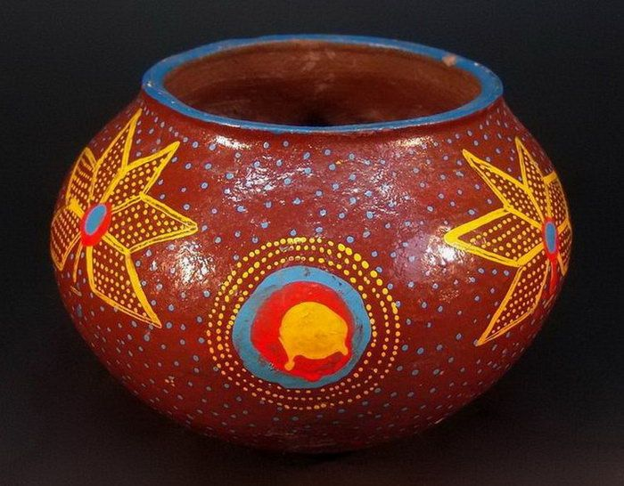 Low fired earthenware vessel. Decorated with enamel domestic paint. Sotho, South Africa.