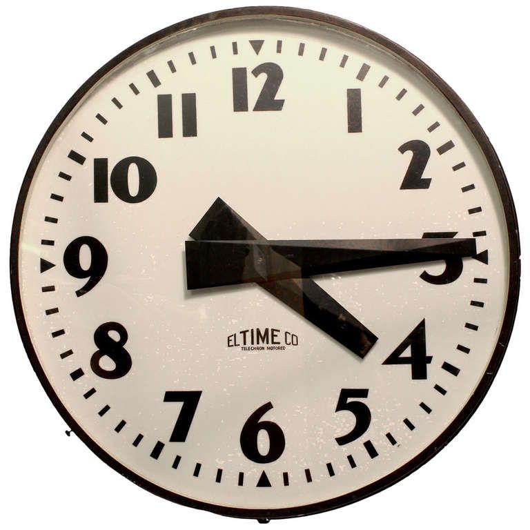 Giant Midcentury School Wall Light Up Clock By El Time Co From A Unique Collection Of Antique And Modern Wall Wall Clock Antique Wall Clocks Clock