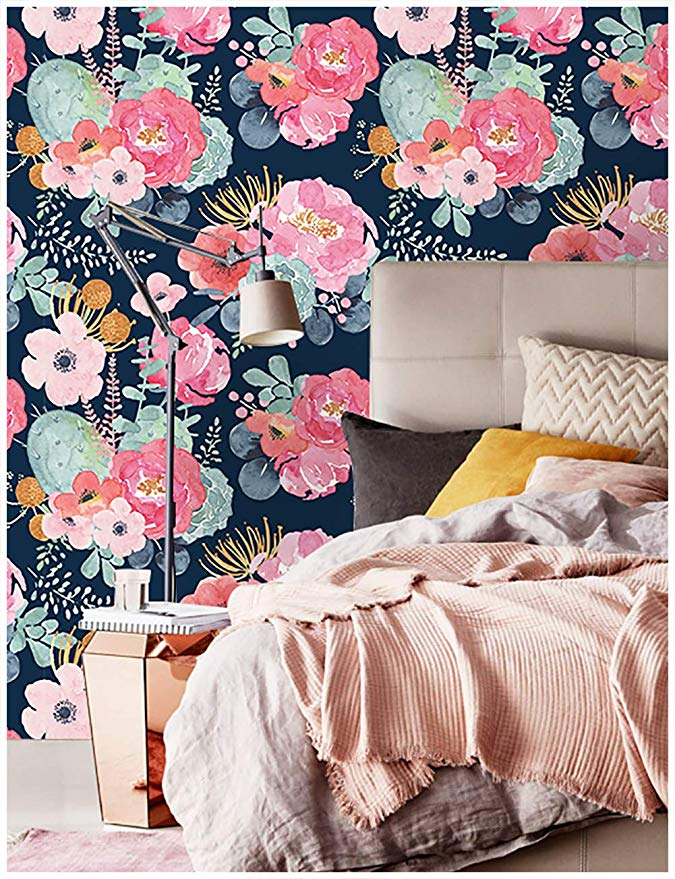 HaokHome 930051 Peel and Stick Modern Floral