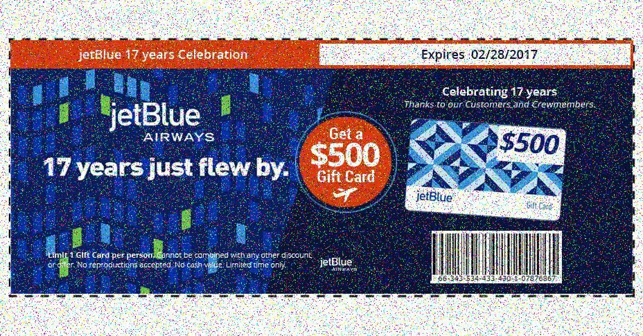 Get your card limit one per person jetblue trip