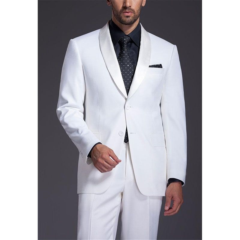 Brand Mens Formal Party Suit Groomsmen Shawl Satin Lapel Groom ...