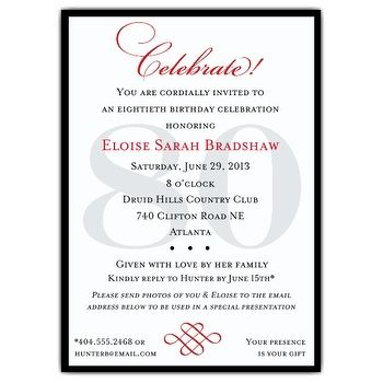 Classic 80th Birthday Celebrate Party Invitations