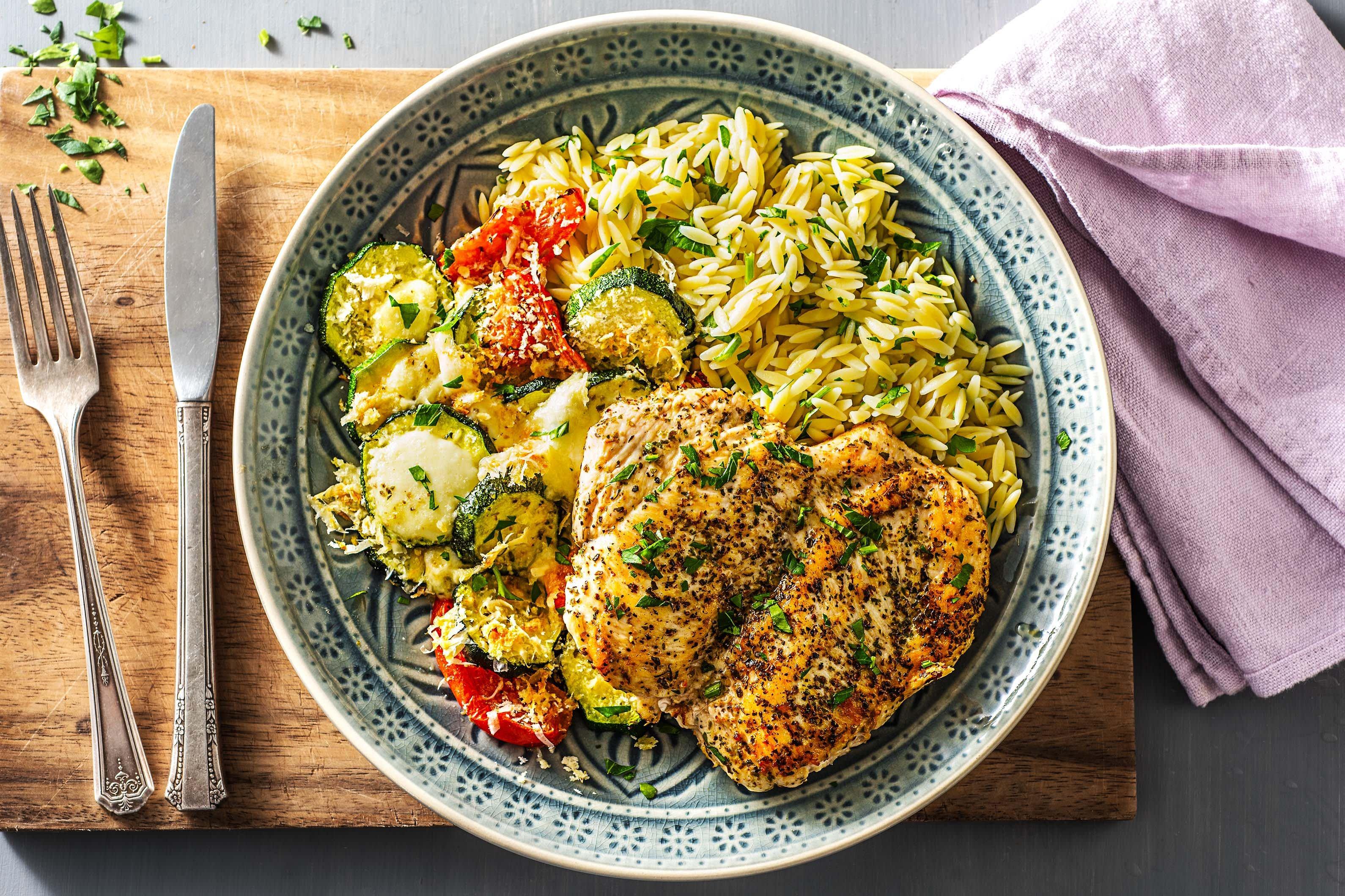 Winner Winner Chicken Orzo Dinner With Cheesy Roasted Zucchini And Tomato Recipe Hello Fresh Recipes Pasta With Zucchini Tomatoes Food Recipes