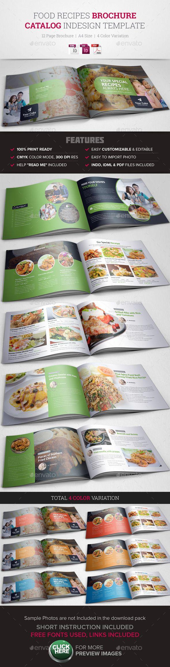 Food Recipes InDesign Brochure Catalog | Diseño editorial, Editorial ...