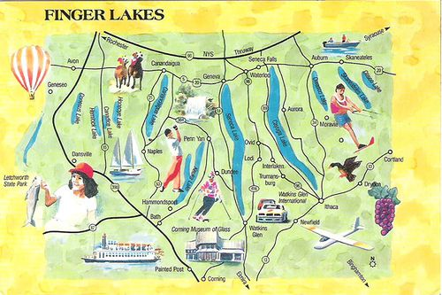 Finger Lakes Ny Map Postcard Finger Lakes Ny Upstate Ny Travel