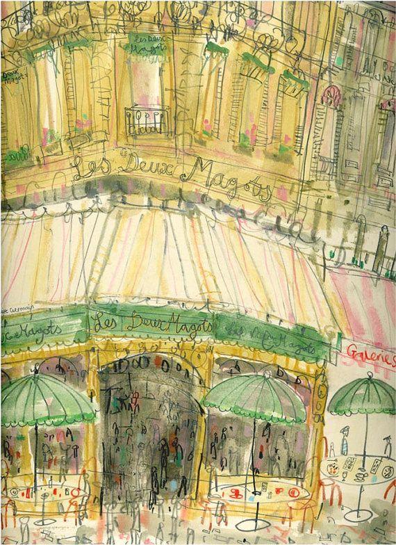 PARIS CAFE WATERCOLOR Les Deux Magots Signed by ClareCaulfield | ART ...