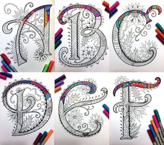 26 Uppercase Zentangle Letters Inspired By The Font Etsy Zentangle Patterns Drawing Letters Lettering Alphabet