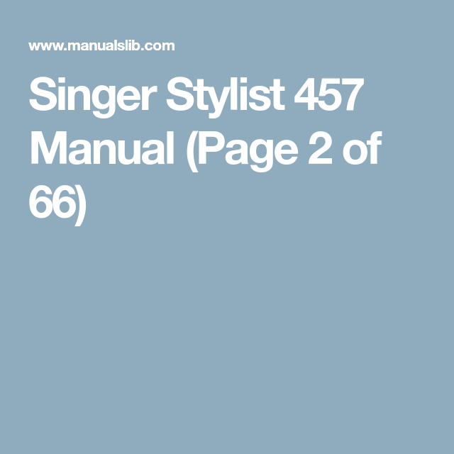 singer sewing machine 457 manual