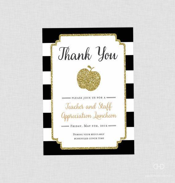 Teacher Appreciation Invitation Apple Printable By Dearhenrydesign Lunch E Invite