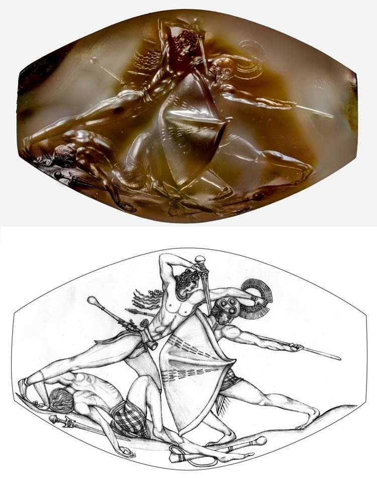 The Pylos Combat Agate, a sealstone found in the grave of 'The Griffin Warrior, Pylos, Greece.