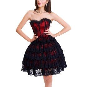 gothic costumes overbust lace red black corset dress