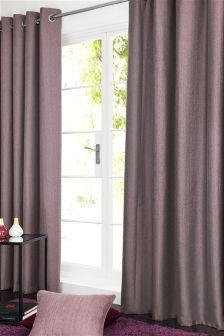 Plum Herringbone Eyelet Curtains 169987