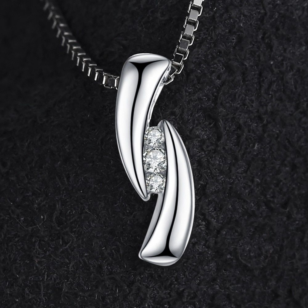 925 Sterling Silver 3-stone Cubic Zirconia Pendant