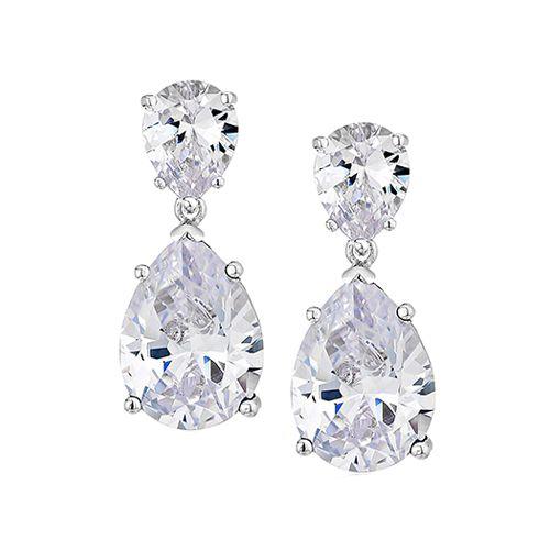 Cz By Kenneth Jay Lane Cubic Zirconia Double Pear Drop Earrings