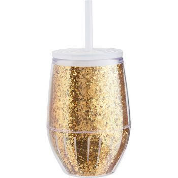b30928d7704 Sip in style with this 10 oz. double wall acrylic gold glitter ...