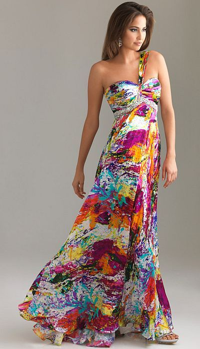 Night Moves Fun Bright Print Prom Dress with Accordion Skirt 6444 ...