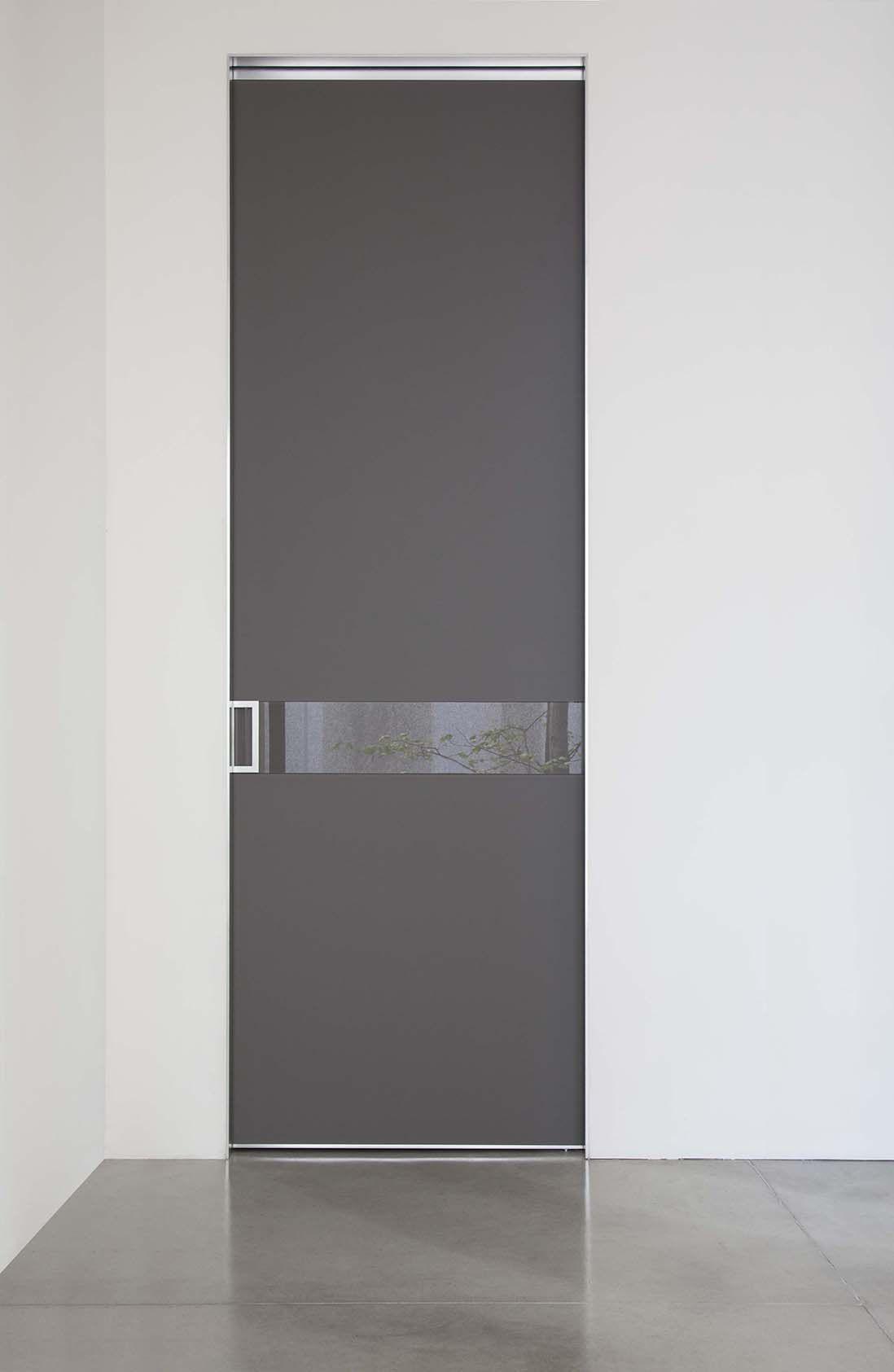 Porta scorrevole interno muro in vetro satinato grigio quarzo con ...