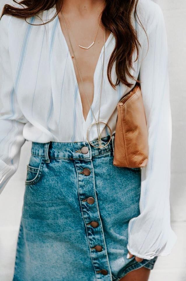 9a14a5357ac8 Head below to get access to denim-skirt attire styles women are dressing  this fall.