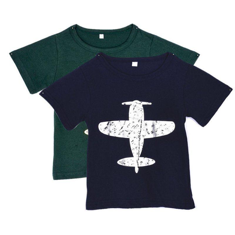 어린이 아기/아이 소년 T 셔츠 짧은 소매 비행기 티 탑 만화