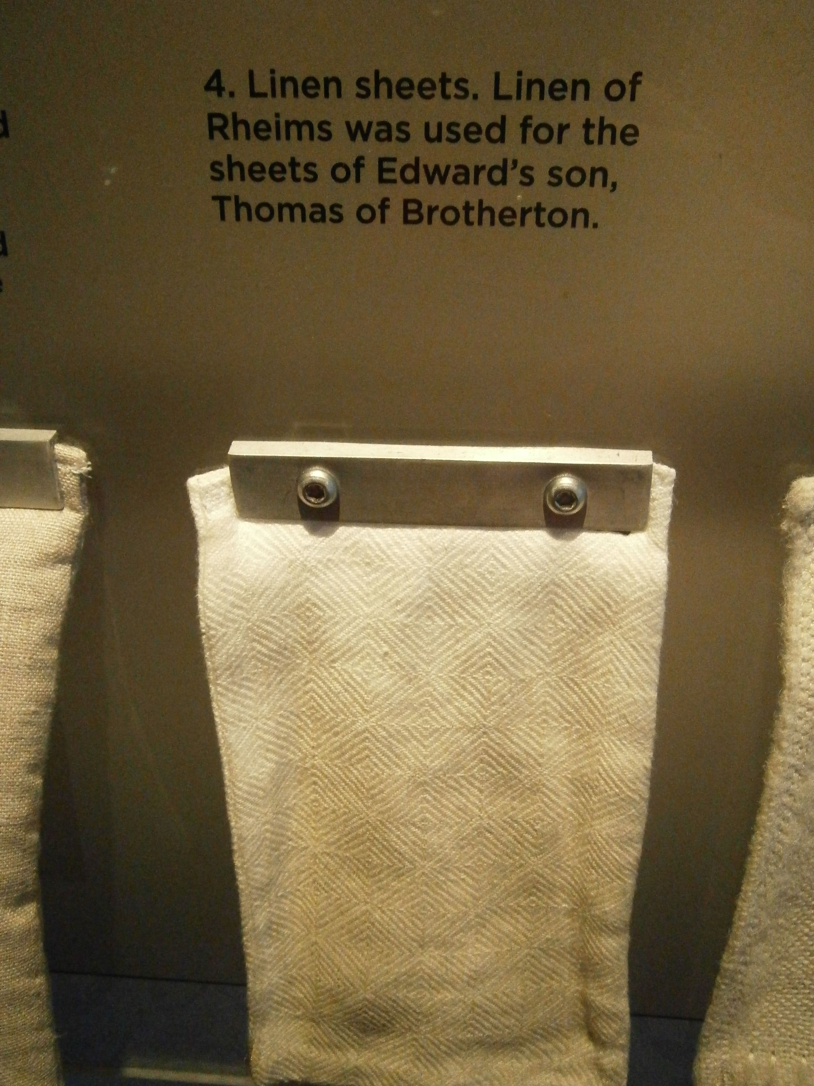 Example of linen sheets, on display in the Tower of London, Bishop's Palace