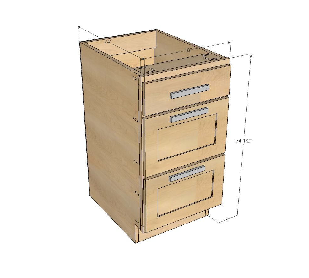 "Free Base Cabinet Plans: Build A 18"" Kitchen Cabinet Drawer Base"