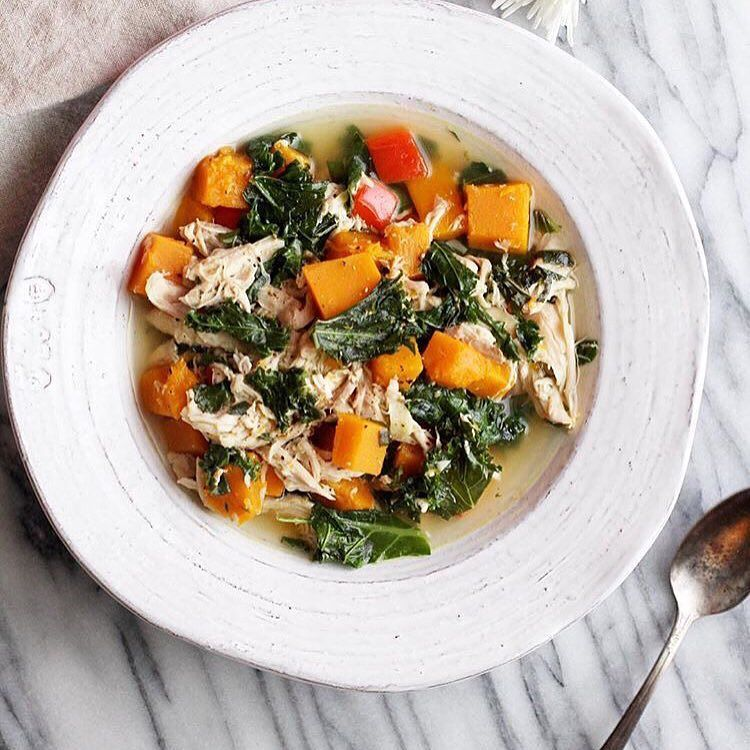For this week's #FollowFriday I had to share this Chicken Kale & Butternut Squash Soup from @jessiskitchen. Just look at it! Lucky for us Jessi included the recipe on her original post. You should definitely go check it out!  @jessiskitchen has a ton of other tasty posts on her feed and it's all Paleo-friendly. Thanks for inspiring us to eat clean Jessi!  @jessiskitchen by christineblubaugh
