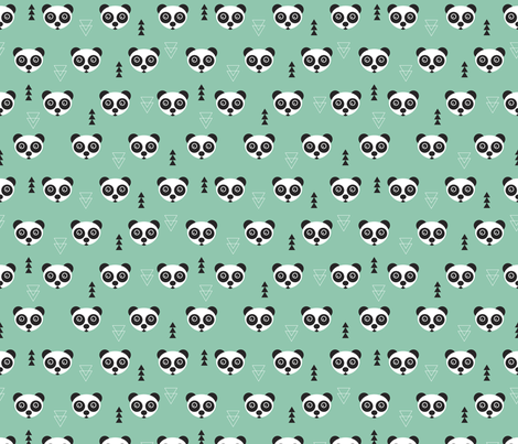 Cute geometric panda bear zoo mint gender neutral animals design fabric surface design by Little Smilemakers on Spoonflower - custom fabric and wallpaper inspiration