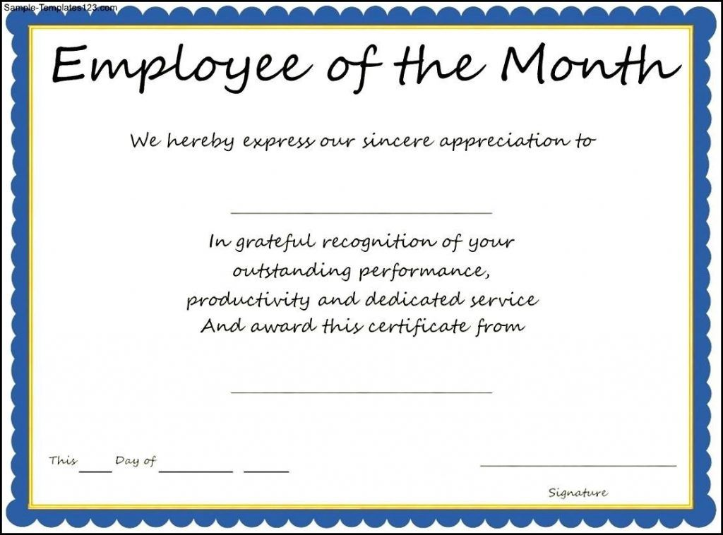 Award Templates Employee Of The Month Certificate Template Sample