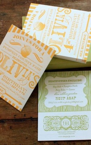 Orange + Green Country Carnival-Inspired Birthday Party Invitation - hochzeitseinladung geprägt