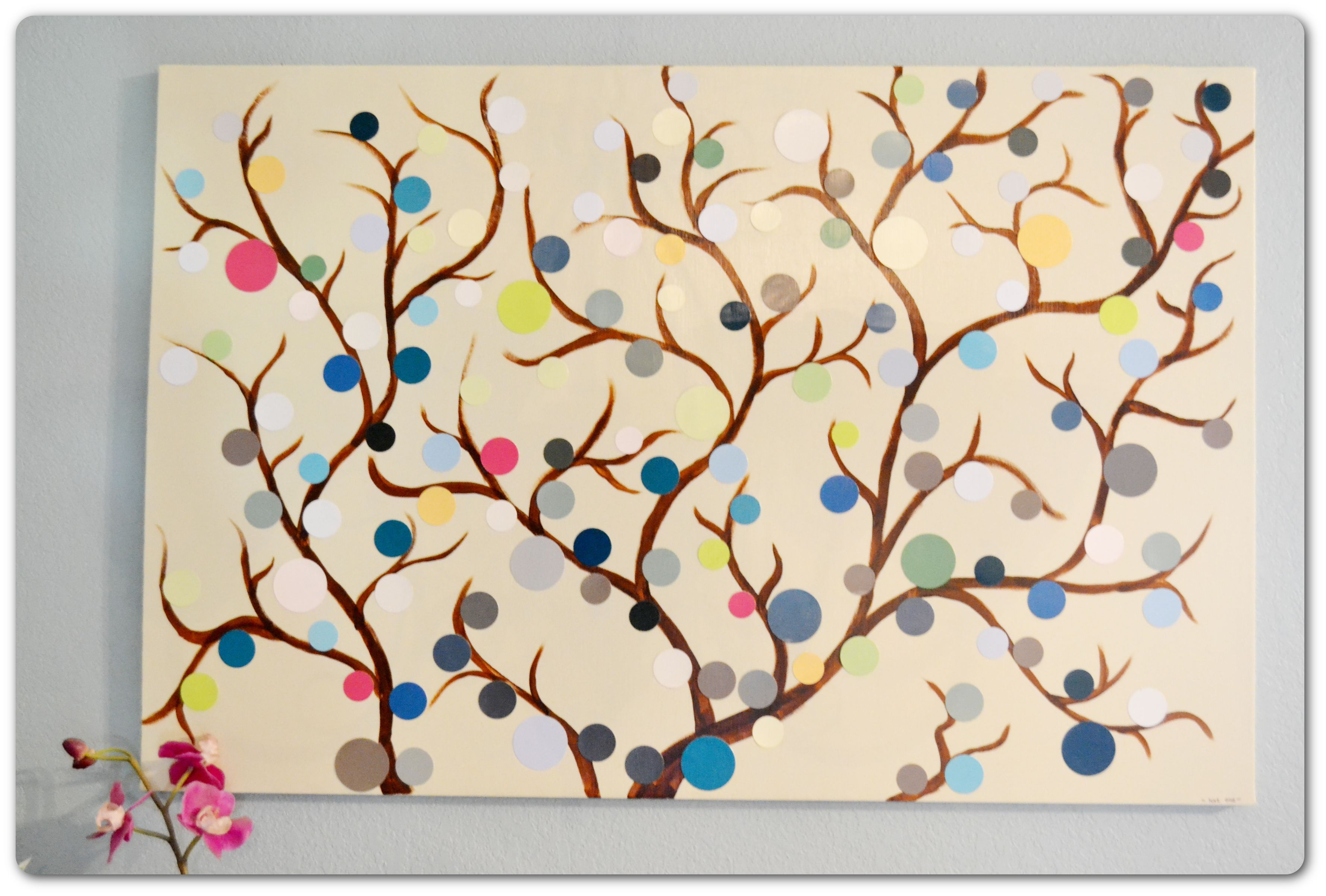 Easy diy paint chip tree art paint chips diy wall art for Watercolor pictures easy
