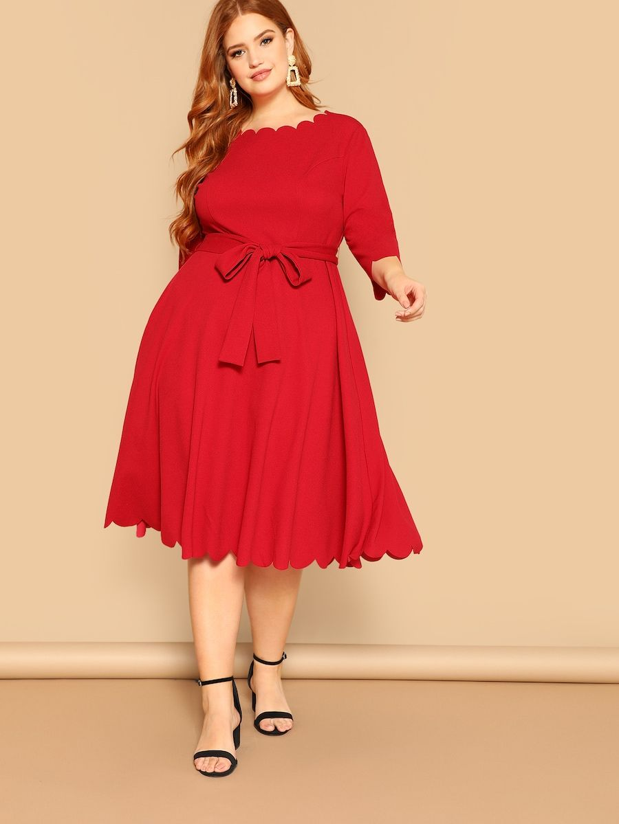 Plus Scalloped Trim Belted Fit Flare Dress Shein Sheinside Dresses To Wear To A Wedding Fit Flare Dress Plus Size Dresses [ 1199 x 900 Pixel ]