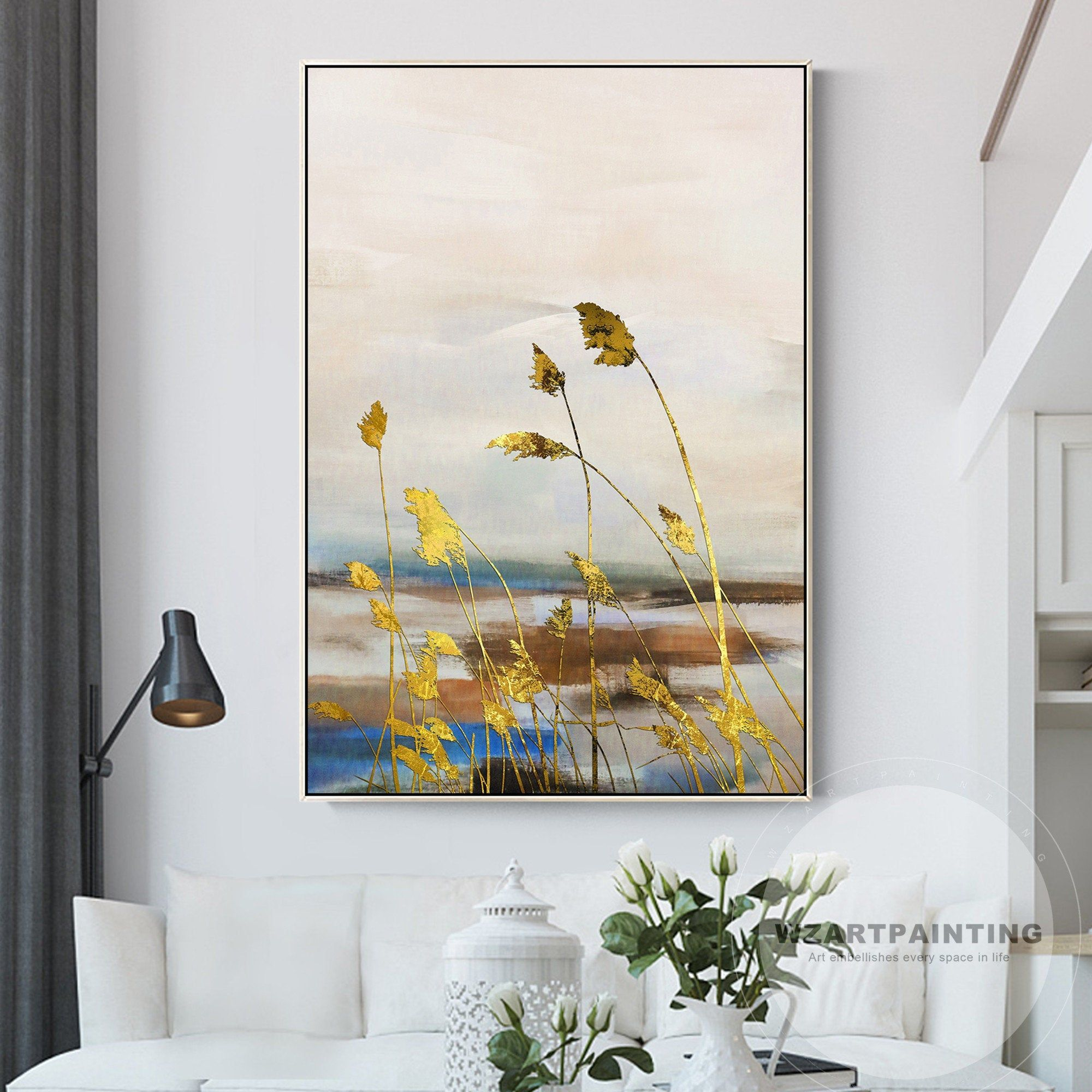 Framed Wall Art Modern Abstract Gold Reed Landscape Print Painting