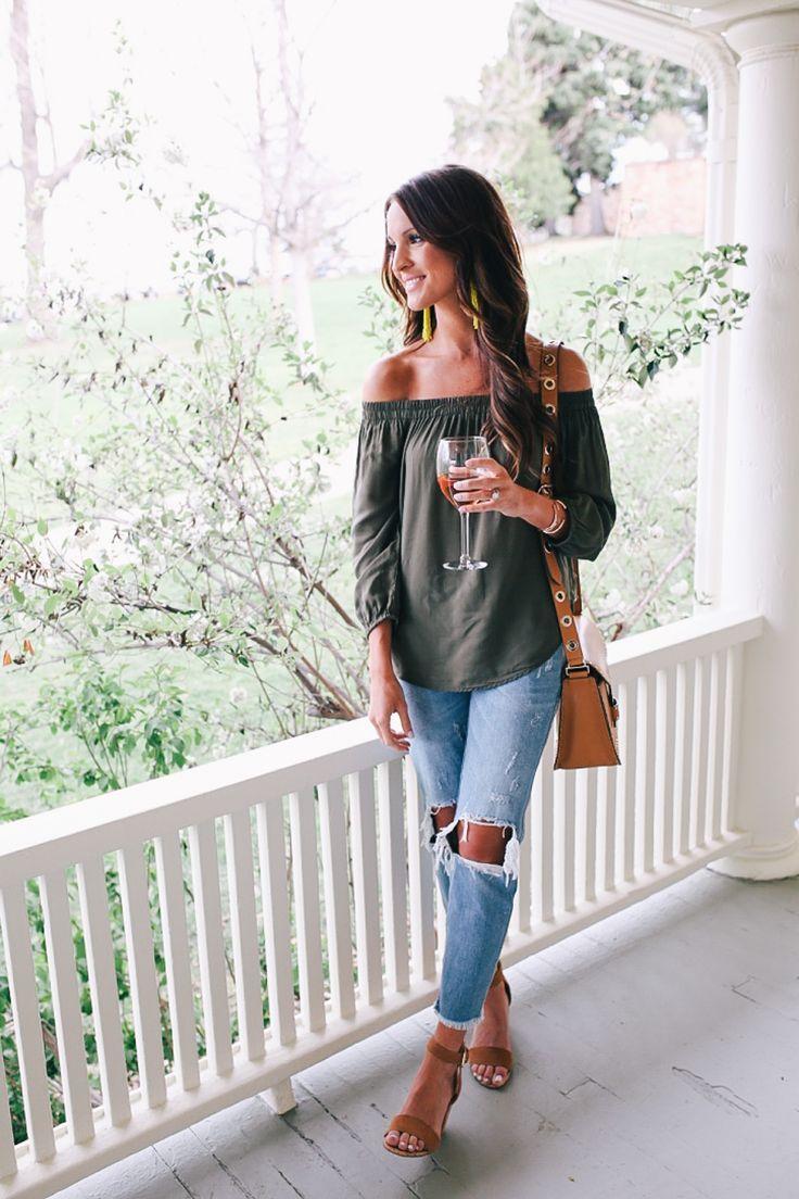off the shoulder top \u0026 boyfriend jeans · Boyfriend Jeans Outfit CasualCasual