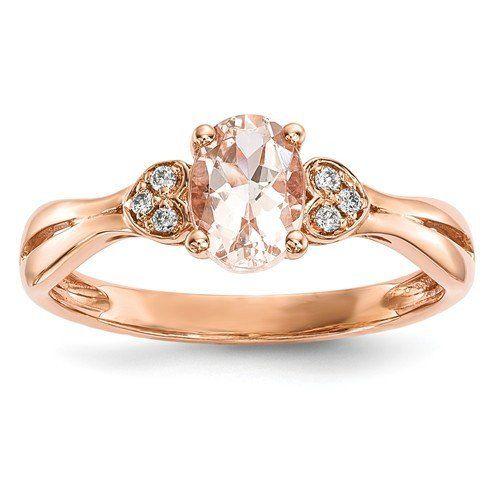 14k Rose Gold Oval Morganite Diamond Double Heart Ring Gems
