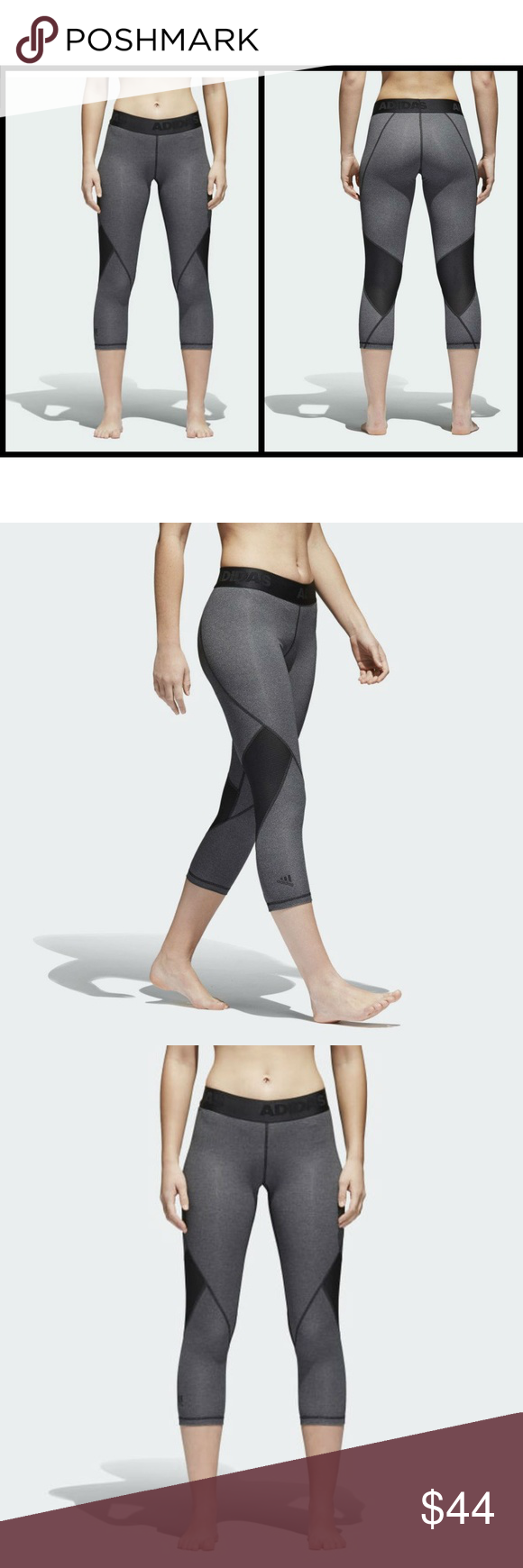 97ea6e3d62144 Adidas Alphaskin Sport Heathered 3/4 Crop Tights Dark Grey Heather / Black  Not your average base layer, Alphaskin has a pre-shaped construction tuned  to the ...